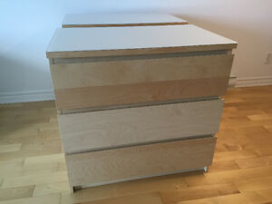 MALM - Chest of 3 drawers, white stained oak veneer+White Glass