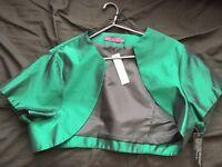 Bottle green taffeta jacket