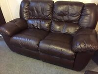 Luxury brown leather fultons full reclining sofa - can deliver
