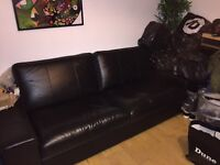 IKEA 3 Seater black leather along with chase lounge