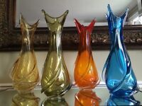 "Chalet glass various coloured vases ""Large blue sold"""