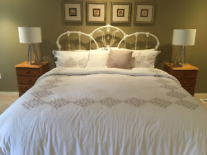 King Size Bed in white wrought Iron