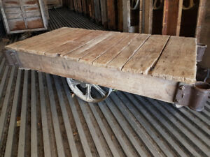 Vintage factory cart coffee tables for sale