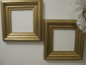 Pr Old [Solid Wood] Shadow-Box Picture Frames with GILT FINIS...