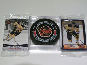 Connor McDavid Erie Otters Puck & Team Player Cards Combo