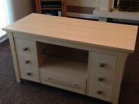 Beech TV unit and storage cabinet.