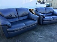 LUXURY REIDS 2 & 2 BLUE FULL LEATHER SOFAS