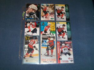 1 SET OF 9 HOCKEY CARDS-ERIC LINDROS-TOPPS-FLEER-JELLO & MORE!