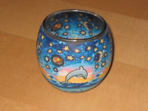 Decorative Tealight Candle Holder (Round Moon Dolphin)