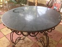 Garden table is marble