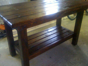 hand crafted softwood tables