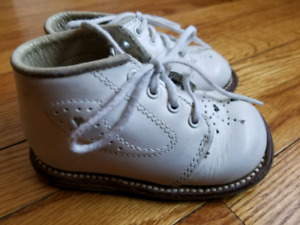Genuine leather baby baptism white shoes.  Leather sole. .