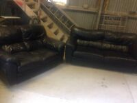 Large2+2 and 1 seater black leather sofa