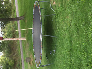 Trampoline and wooden swing set for sale