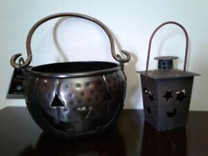 New solid metal pumpkin & lantern