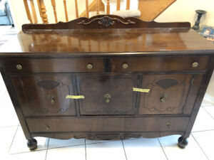 Dark Solid wood Hutch with original knobs and pulls