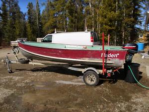 14ft Aluminum Boat and Trailer w/ 15hp Merc 2 Strk