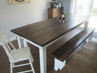 RUSTIC FARMHOUSE TABLE AND BENCH