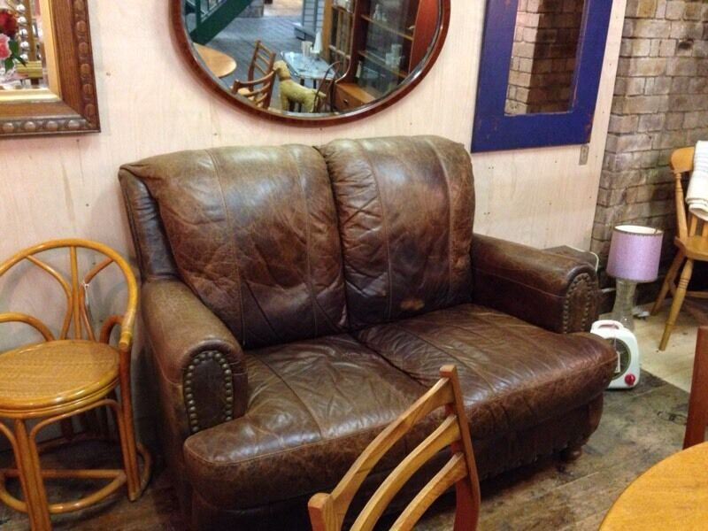 Vintage Rustic Shabby Chic Cottage Small 2 Seater High Back Distressed Brown Leather Sofa