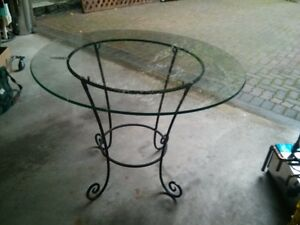 "Wrought Iron Table with 42"" Bevelled Glass Top"