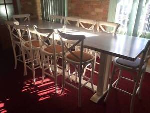 Big communal dinning table, with 10 stool chairs Kogarah Rockdale Area Preview