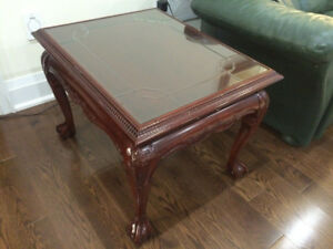 Vintage Solid Wood Glass Top Side Tables