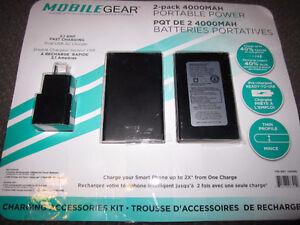 MobileGear 2-Pack 4000MAH Portable Power Packs - New, Open Pack