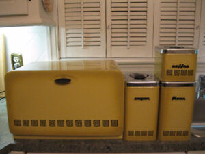 Yellow metal Canisters set Vintage