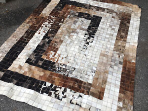 Patchwork Leather rug - cow hide - square mosaic