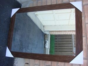 LARGE WALL MIRROR BROWN COLOR FRAME. FOR VANITY.