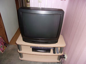 Zenith 27 inch Television, Stand, and more.
