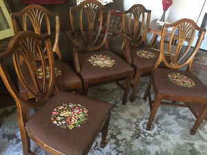 5 Vintage Dining Chairs with Needlepoint Seats