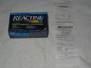 REACTINE (ALLERGY) - EXTRA STRENGTH - 84 TABLETS - NEVER OPENED