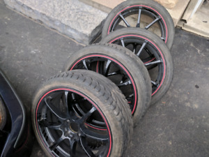 "4x114.3/4x100 17"" ultra racing wheels with tires"