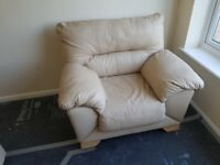 Cream Leather Armchair