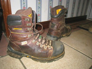 Used Cat Caterpillar Leather Steel Toe Waterproof Safety Shoes 8