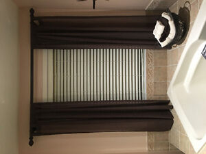 Sheer curtains with wooden rod