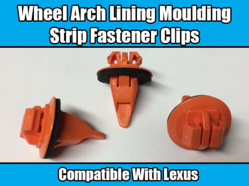 10x Clips For LEXUS Wheel Arch Lining Moulding Strip Fastener Orange Plastic