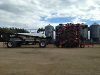 Bourgault 3310 Air Drill, JD 9560R 4WD, JD W150 Swather, MD FD75