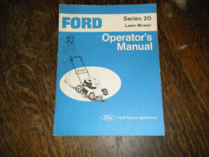 Ford Series 20 Lawn Mower Operators Manual 1977