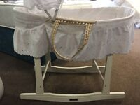 Moses basket and stand with bedding like new