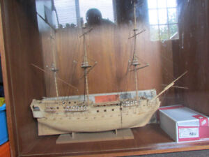 Balsa wood galleon with display case