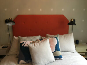 Upholstered, wall-hung headboard for queen-size bed