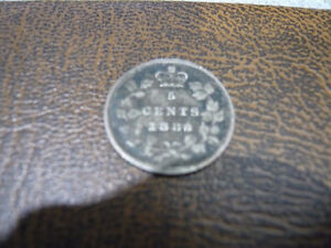 Vintage Canadian 1886 Large 6, 5 Cent Coin Very Good Condition!