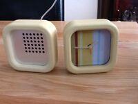 "Retro Style Clock & AM/FM Radio Height 4.12"""