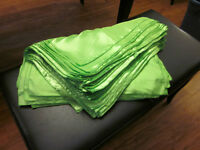Bright lime green satin  napkins & chair ties