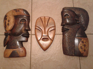 Decorative African 3 piece wooden wall collection