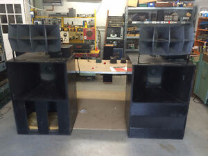 Pair 1950s Altec Voice of the Theatre A7 Speakers. Horns Woofers