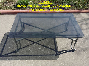 """FS: Black Glass Table, Solid Metal Base, Size 47.5"""" x 30"""" x 19"""""""
