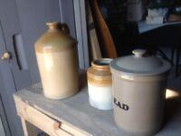 2 stone pots for decoration & bread bin
